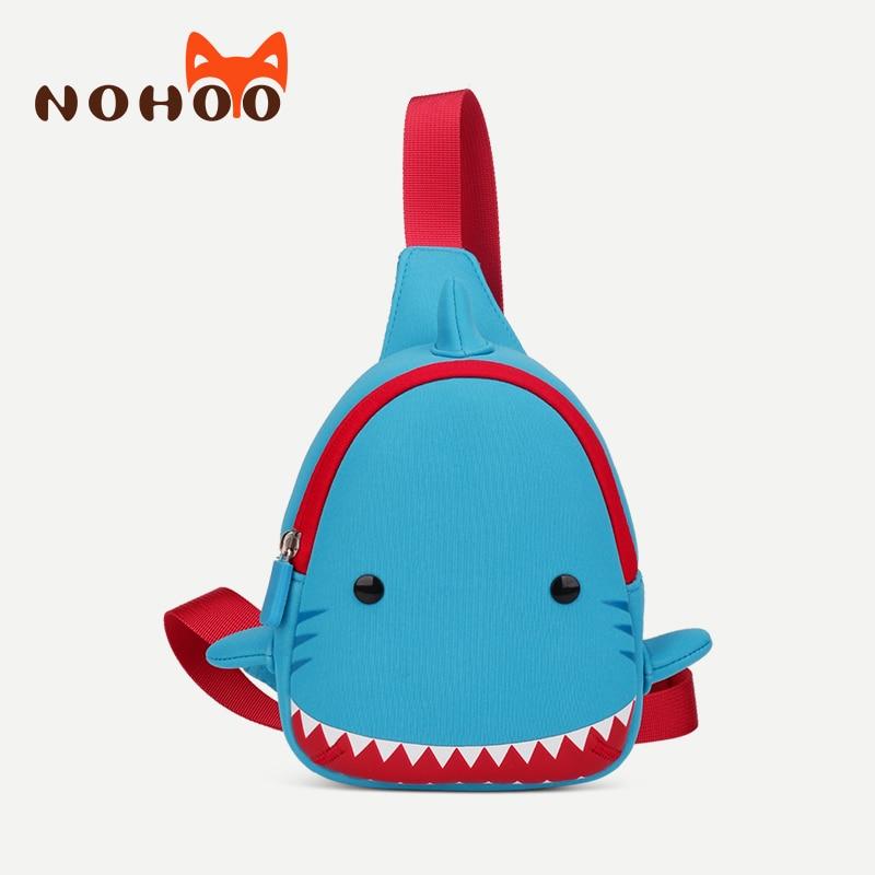 NOHOO 3D ზვიგენის ნიმუში ბავშვთა მულტფილმების ჩანთები წყალგაუმტარი მესინჯერი ჩანთები გოგონებისთვის ბიჭები ნეოპრენი ცხოველები საბავშვო ბავშვთა ჩანთები გულმკერდის ჩანთა