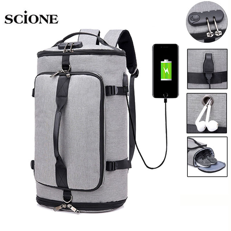 USB Anti-theft Gym Backpack Bags Fitness Gymtas Bag For Men Training Sports Tas Travel Sac De Sport Outdoor Laptop Sack XA684WA