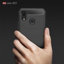 Vivo X21 Case Silicon for X 21 Cover Fingerprint Soft Carbon Fiber Brushed FundaS Coque Etui Accessory