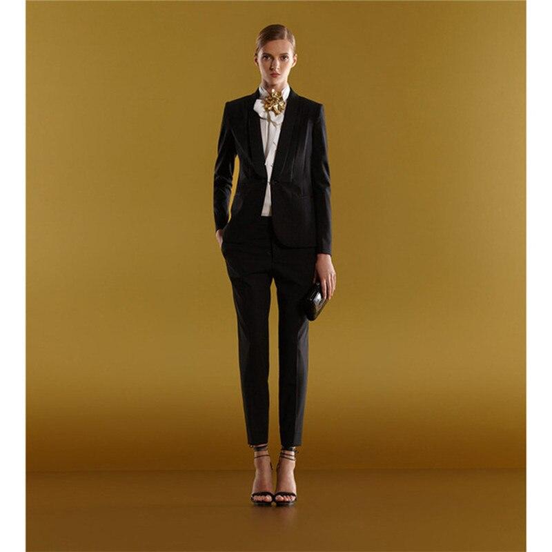 Women's New Fashion Slim Suit Two-piece Suit (jacket + Pants) Ladies Business Office Dress Support Custom