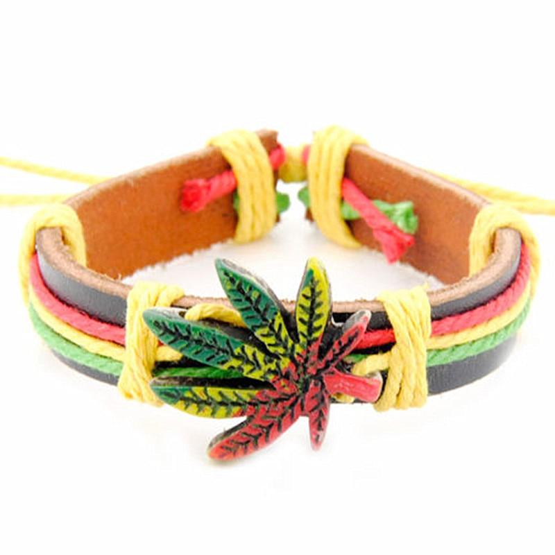 Bracelet cuir Rasta Feuille Verte pas cher | Rasta Lion