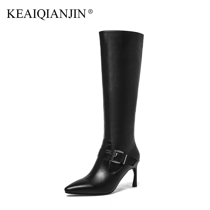 KEAIQIANJIN Woman Pointed Toe Botas Buckle Autumn Winter Plus Size 33 - 43 High Heel Shoes Black Genuine Leather Knee High Boots цены онлайн