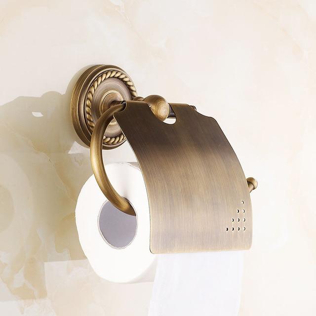Copper antique toilet paper holder,  European room roll paper rack, Retro bathroom tissue paper holder, Free shipping