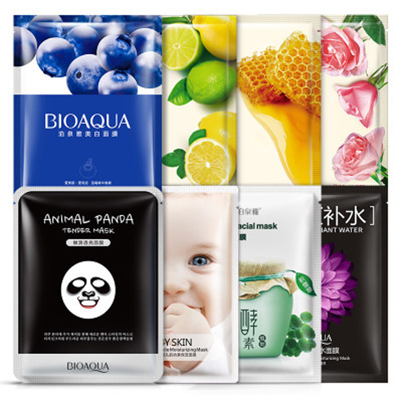 BIOAQUA 8Pcs Natural plants Face Mask Facial Skin Care Face Moisturizing And Oil Control Essence Korean Cosmetics