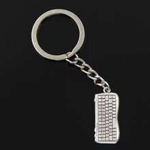 new fashion men 30mm keychain DIY metal holder chain vintage computer keyboard mouse silver pendant Gift(China)
