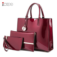 2019 Womens Patent Leather Handbag Luxury Designer Tote 3pcs Sets Shoulder Crossbody Bag Female High Quality Red Black Hand