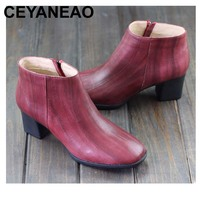 CEYANEAO Shoes Woman Boots Square Toe Zip Chelsea Boots Comfort 5.5cm High Heel Shoes Ladies Ankle Boots (8226)