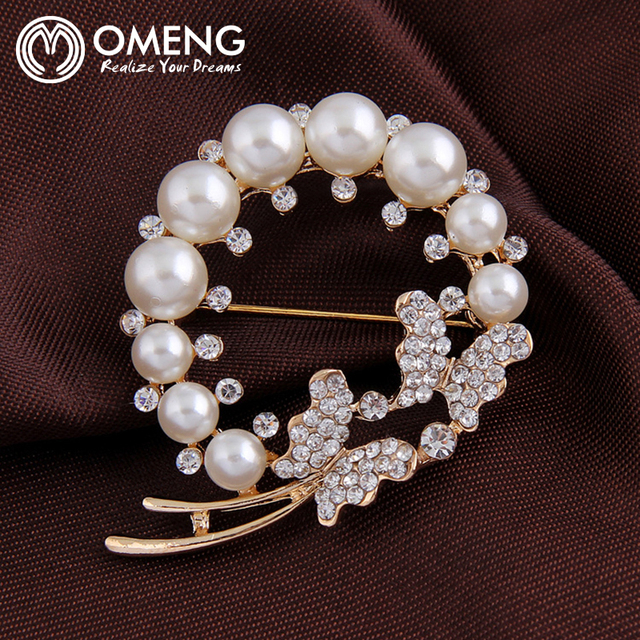 OMENG  Luxurious Brand Gold Plated Flowers Brooches With Best Vintage Brooches OXZ040