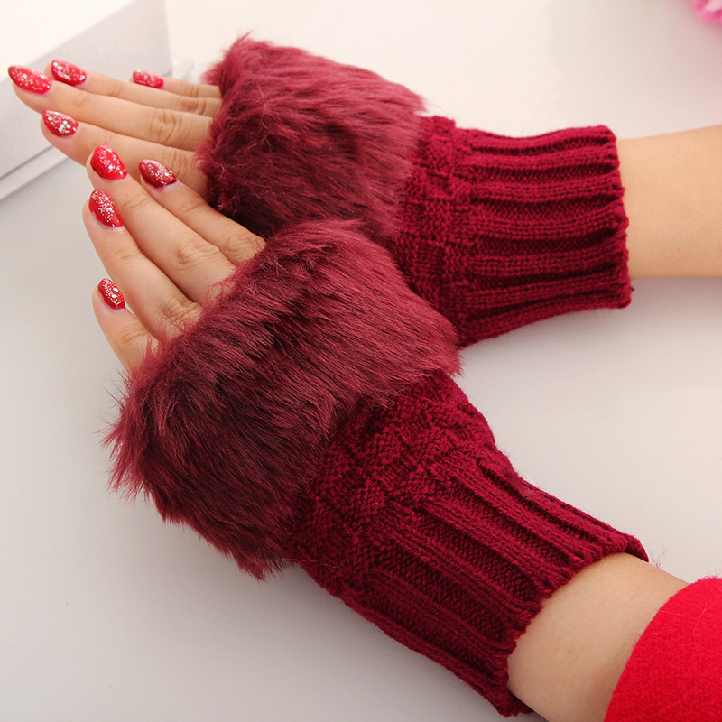 Women Casual Fur Faux Rabbit Knitted Gloves Soft Cotton Winter Fingerless Knitting Warmer Wrist Hand Gloves Mittens
