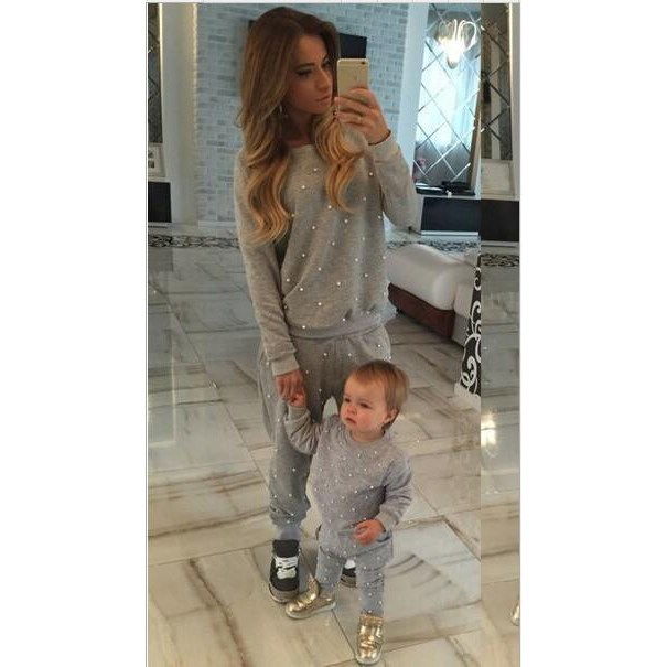 2 Piece Set Suit Tracksuit New Winter Pullover Nail Bead Causal Sweatsuit Sweatpants Hoodie Coat And Pants Suits