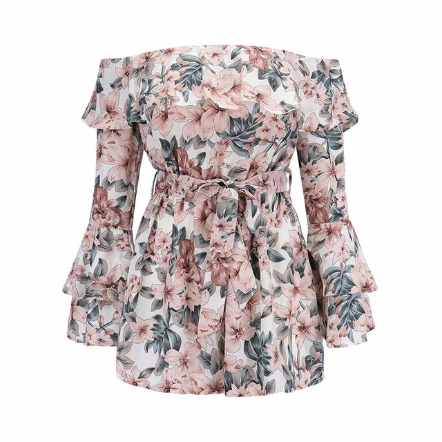 yinlinhe Off Shoulder Playsuit Summe Long Sleeve Flare Sexy Short Jumpsuit women rompers Sash Bow Floral Ruffles Overalls    243 4