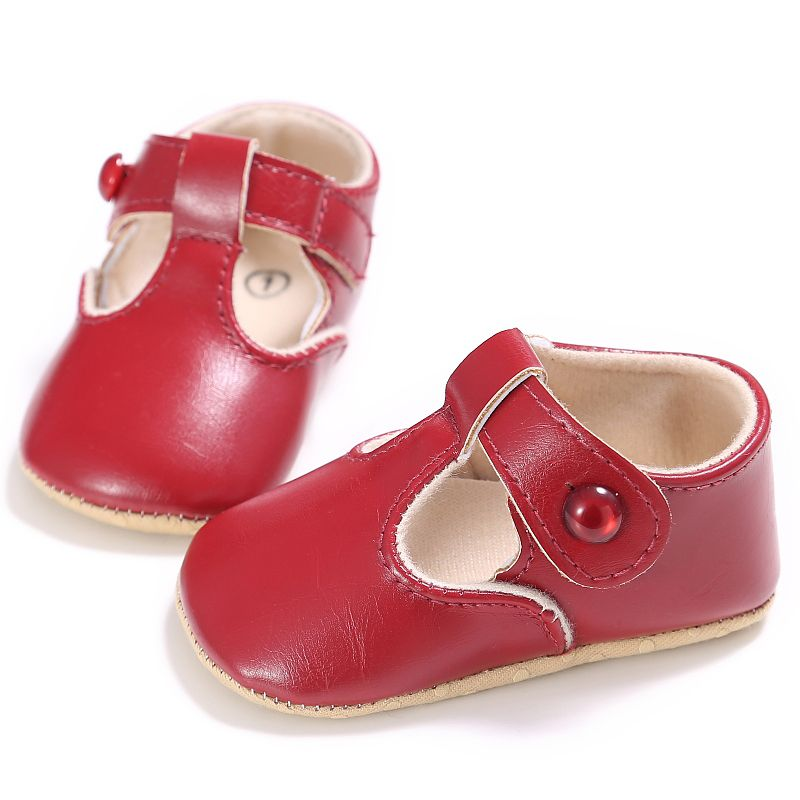 Spring Infant Baby Boys Girls PU Solid Color Sweet Princess Soft Sole Toddler Kids Cack First Walkers Shoes