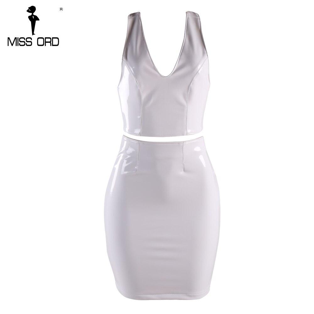 Buy MISS ORD 2019 Sexy  Deep-V  two-pcs latex  shoulder split  mini dress party dress FT8216
