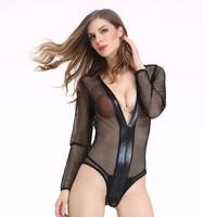 Miljoen Sexy Lingerie Hot Black Nieuwe zwarte sexy kant teddy lingerie plus size mooie mesh modieuze nacht jurk