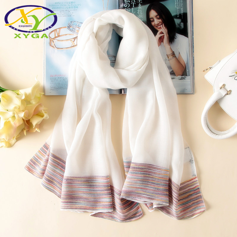 TXYGAT New Acrylic Cotton Soft Women Scarves Solid Long Tenderness Scarf Female Striped Thin High Quality Fabrics Wrap Pashmina