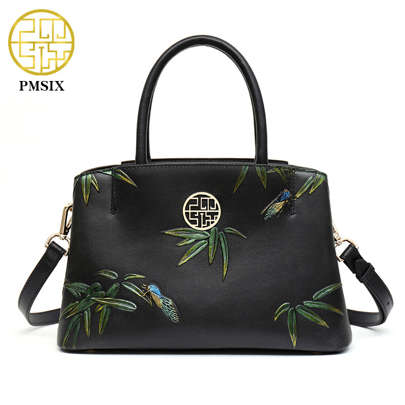 PMSIX 2019 Summer New Bamboo Embossed Split Leather Handbag Crossbody Bag Chinese Style Women High Quality