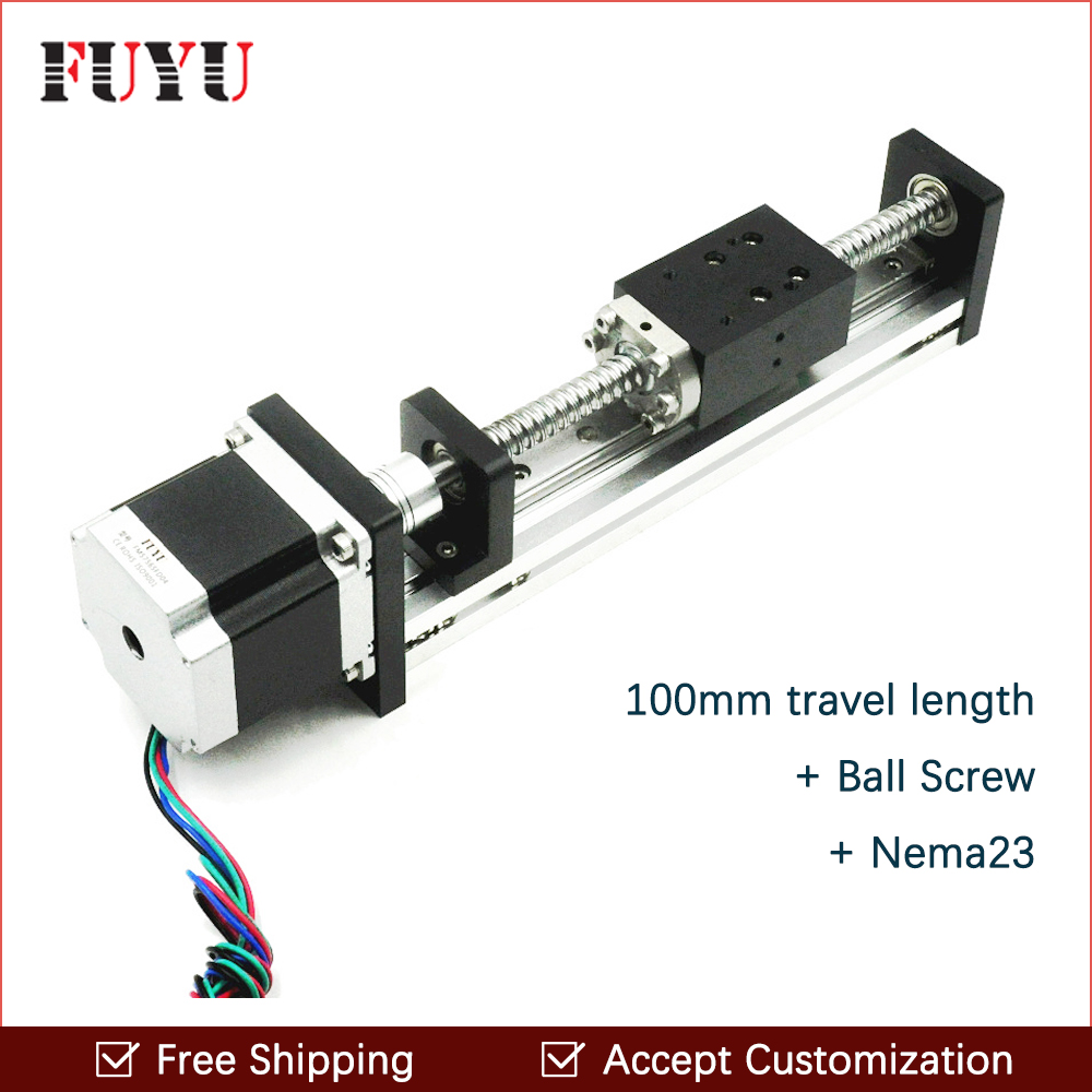 Free Shipping 100mm Travel Aluminium Motorized Linear Slide Guide Rail For Cnc Machine free shipping 900mm travel aluminium motorized linear slide for cnc machine