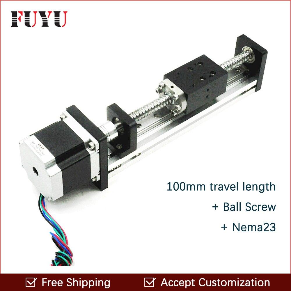 Free Shipping 100mm travel Aluminium Motorized Linear Slide For Cnc Machine free shipping 900mm travel aluminium motorized linear slide for cnc machine
