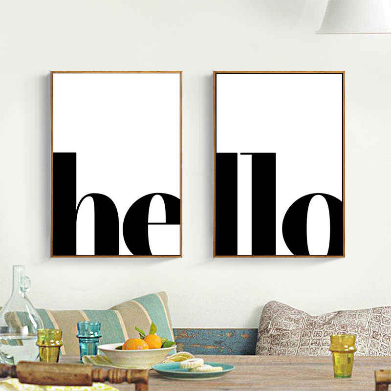 2pcs/set Black White English Word Art Canvas Poster Divided Hello Set Wall Picture Print Canvas Painting Room Decor HD2625