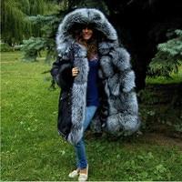 TOPFUR 2018 Luxurious Natural Silver Fox Fur Lining Inside Hood Black Fur Jacket Parkas Women's Winter Down Real Fur Parka