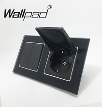 Wallpad Black Crystal Glass Panel 110V-250V 2 Gang 2 Way Switch Dust Cap EU Schuko Wall Socket with Claws Clips Socket with Cap