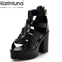 Large Size 34 43 Fashion Rome Style Shoes Women Solid Peep Toe Gladiator Shoes Buckle Platform