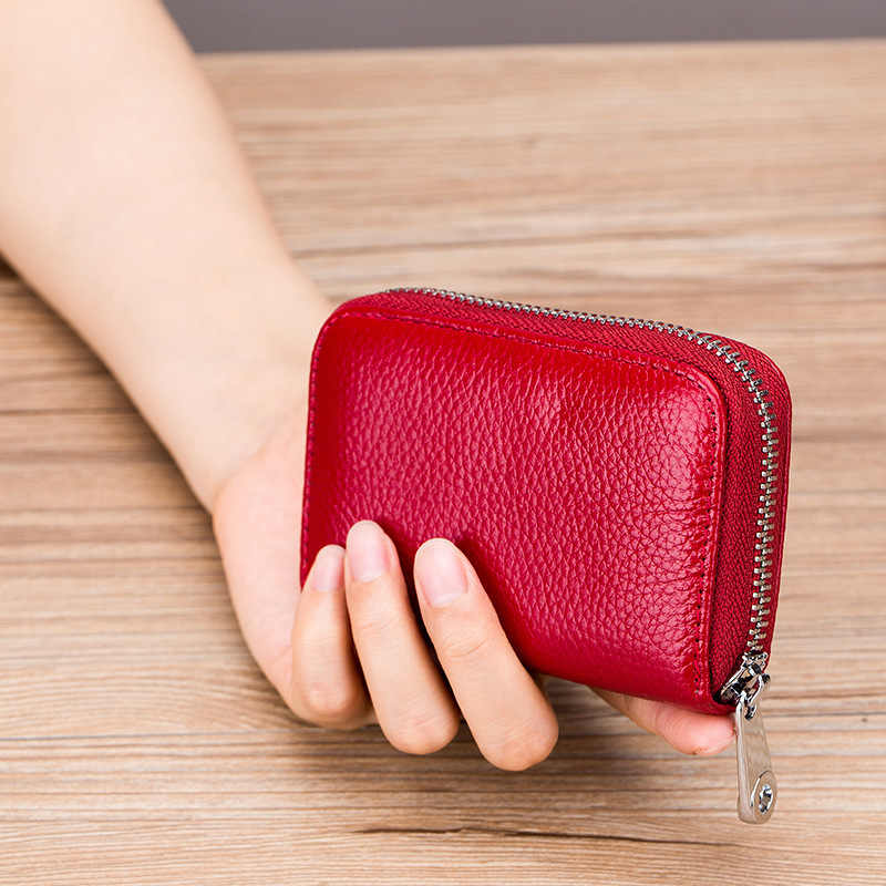 YOJESSY женский визитница из натуральной кожи бумажник для карт предотвращает RFID женский держатель для кредитных карт красный кошелек для монет женский