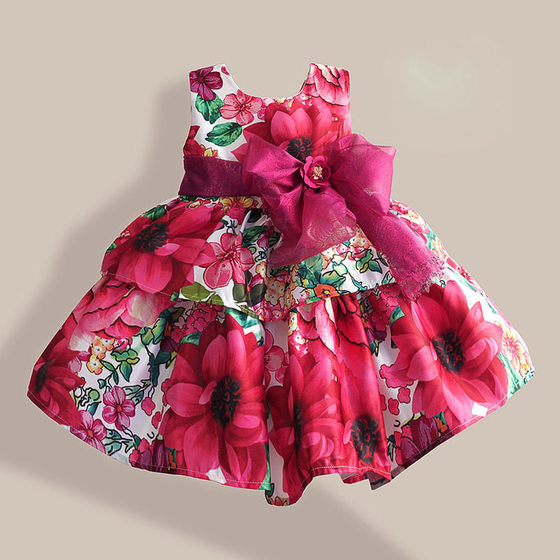 Christmas Girls Dresses Fashion Silk Bow Rose Flower Print Sleeveless Girl Party Dress children clothing vestidos infantis 1-6T cute summer dress for girls new fashion kid baby girl sleeveless rose flower printed dresses striped casual party dress vestidos