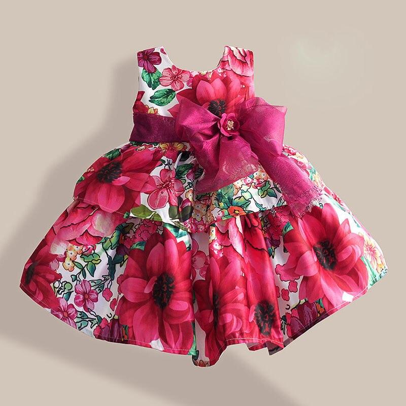 Christmas Girls Dresses Fashion Silk Bow Rose Flower Print Sleeveless Girl Party Dress children clothing vestidos infantis 1-6T