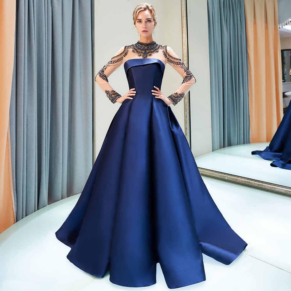 0c8b45bf01 BeryLove High Neck Ball Gown Burgundy Evening Dresses Long Sleeves Beaded  Satin Evening Gowns China Prom Gowns Vestido De Festa