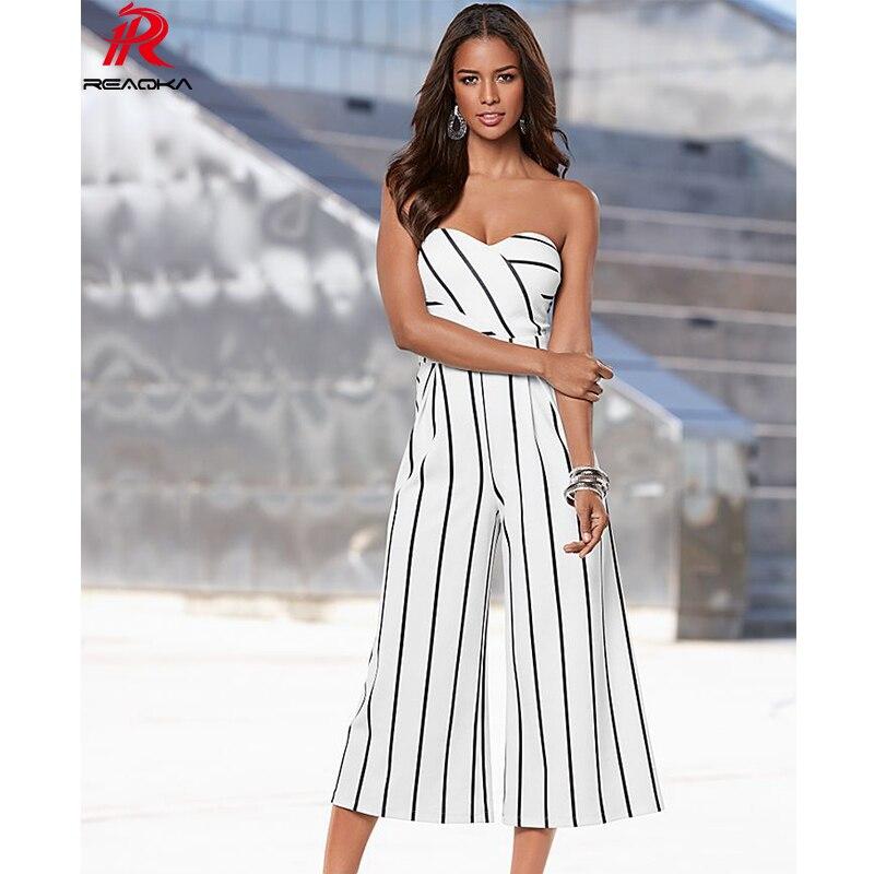 Reaqka Sexy Women Summer Jumpsuit Striped Casual Fashion