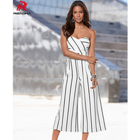 Europe Sexy Women Striped Jumpsuits Casual Fashion Calf Length Pants Boot Cut Loose Bodysuits High Quality