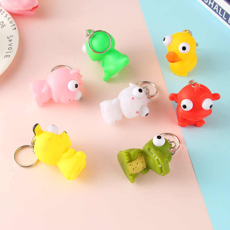 Animal Vent Squeezing Eyes Random Pattern Antistress Gags Practical Jokes Keychain Backpack Pendant Anti Stress Toy For Children