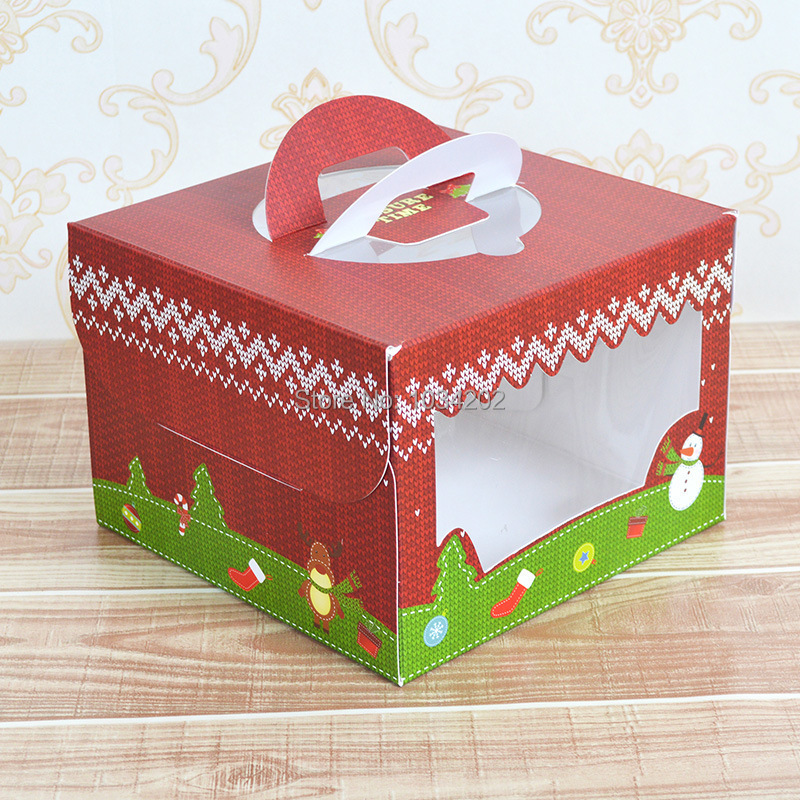 200pcs/lot 6 inch christmas Card Paper Party cake box cheese cake ...