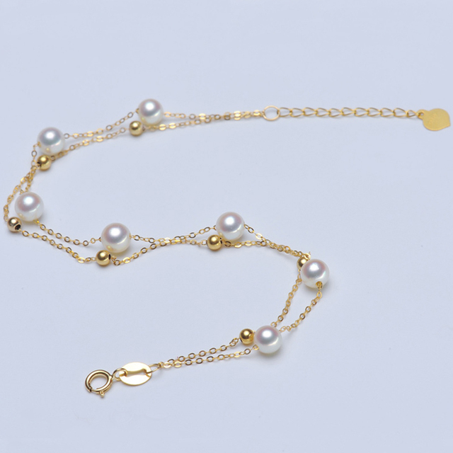 Robira Simple Sweet Freshwate Pearl Bracelets For Women Fashion Double Layer 18k Gold Jewelry Cute