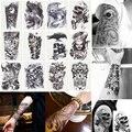 12 Unids/lote 3D Impermeable Pierna Del Brazo Del Cuerpo Arte Del Tatuaje Tatouage Guapo Glitter Negro Tatuajes Temporales Del Tatuaje Grande 210*150mm