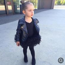 bba12d0afb7b Kids leather jacket 2018 fall fashion baby girl PU leather black jacket  Zippered Thin Black Coats