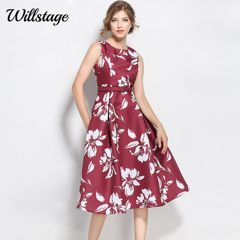 Willstage Red Dresses Women Floral Printed Sleeveless Party Dress With Belt Elegant Pleated Vestidos 2019 Spring Summer Dress XL