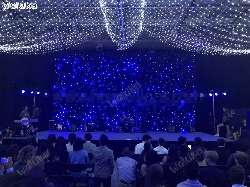 Us 56445 50 Off4x6 Led Starry Sky Curtain Blue White Lamp Voice Control Flash Showroom Hotel Bar Background Lights With Controller Cd50 W03 In