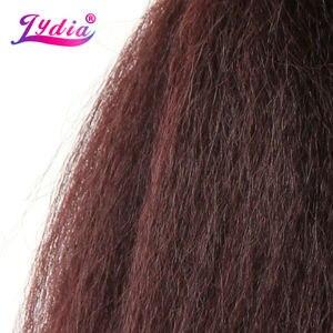 Image 3 - לידיה לנשים שחורות שיער סינטטי הארכת שיער אריגה ישר קינקי צבע טהור 10 Inch גל 3 יח\חבילה חבילות שיער