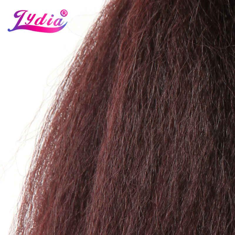 Lydia Voor Zwarte Vrouwen Synthetische Haarverlenging Kinky Straight Weven Pure Kleur 10 Inch Haar Wave 3 Stuks/partij Haar Bundels