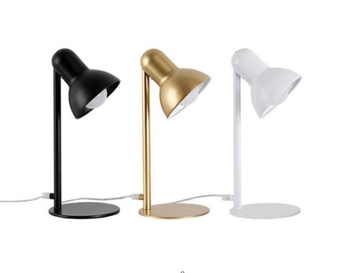 Vintage Design White/Black/Gold Desk Lamps E27 LED Table Lamp for Office Reading Night Bedside long swing arm adjustable classic desk lamps e27 led with switch table lamp for office reading night light bedside home
