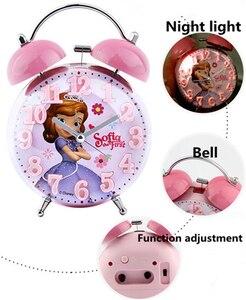 Image 5 - Disney Frozen Elsa Ann Wekker Prinses Sofia Kt Nieuwe 3d Bolle Cartoon Jongen Meisje Student Nachtkastje Bel Wekker nachtlampje