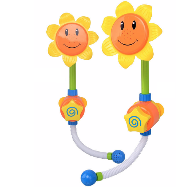 New kids crianças girassol brinquedo do banho do bebê banho de chuveiro torneira de água play aprendizagem toy presente pacote de varejo