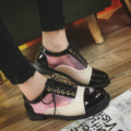 Patchwork Flats Pink Gold Oxford Shoes for Women Lace Up Women Oxfords Patent PU Casual Shoes Women Flats XW5170206