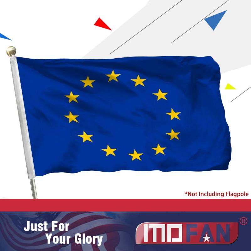 MOFAN Vlajka Evropské unie z polyesteru a plátna s dvojitým prošitím -EU vlajka se 2 mosaznými průchodkami 3x5 Ft