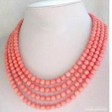 6 мм розовый красный коралл белый натуральный длинное ожерелье 6 мм ручной работы длинная цепочка серебряные ювелирные изделия