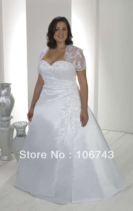 free shipping 2018 new design kurti fat lace Bridal Gown Ball With Free Bolero plus size mother of the bride dresses with jacket