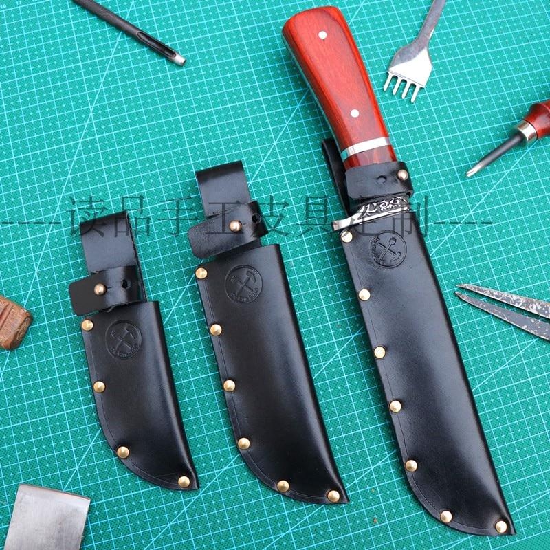 5 60 cm Özelleştirilmiş el yapımı manuel İlk katman sığır derisi bıçak kılıfı  kın bıçak kapağı ile pirinç perçin|Bıçaklar|Aletler -