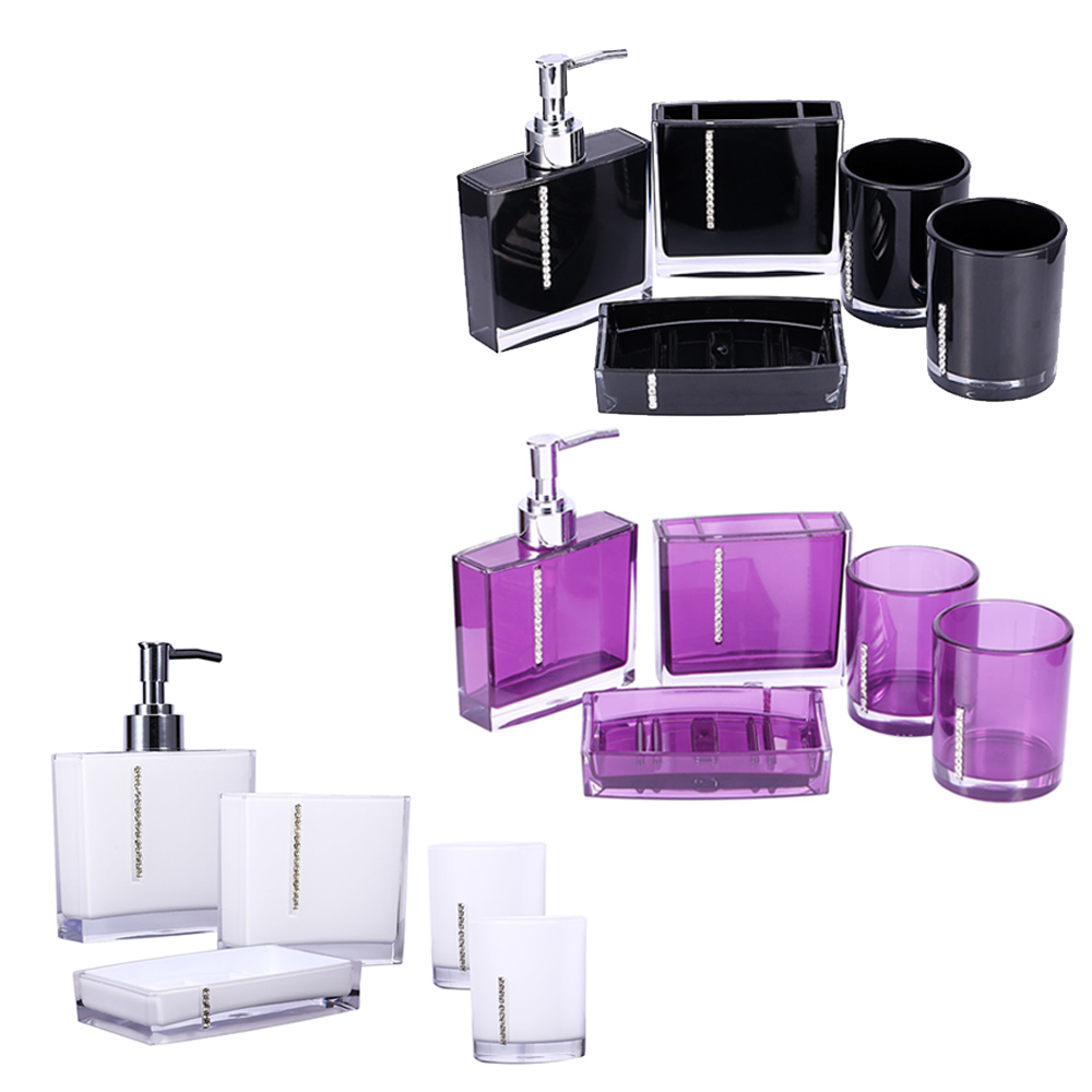 Nc 5 pcs bathroom washroom rhinestone press liquid soap for Bathroom accessories with rhinestones